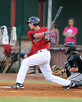 Outfielder Matej Hejma (24) of the Elizabethton Twins, Appalachian League affiliate of the Minnesota Twins, in a game against the Bristol White Sox on August 18, 2011, at Joe O'Brien Field in Elizabethton, Tennessee. Elizabethton defeated Bristol, 13-3. (Tom Priddy/Four Seam Images)