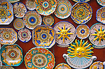 Colourful painted plate souvenirs, Erice. Sicily, Italy