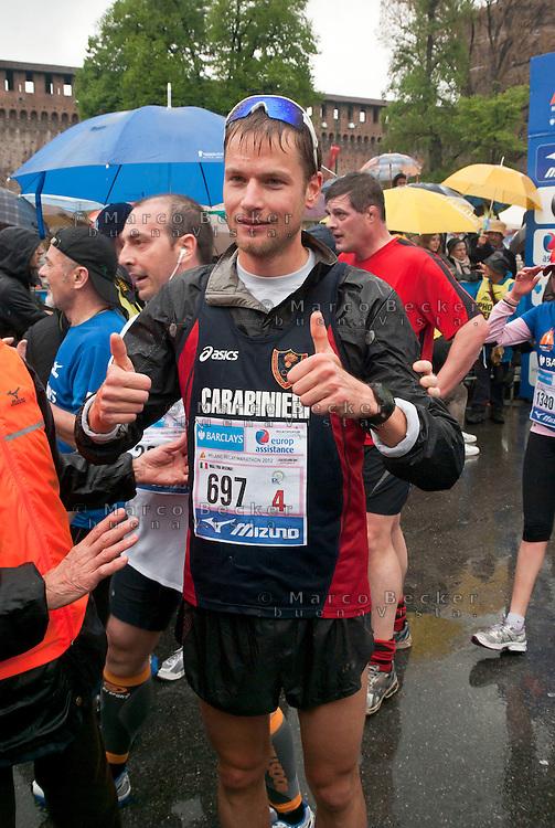 Milano, Alex Schwazer all'arrivo della Milano City Marathon --- Milan, Alex Schwazer at the arrival of the Milan City Marathon
