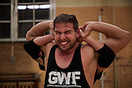 BERLIN 12.2016. Toni Tiger Harting of GWF (German Wrestling Federation) during training.<br /> <br /> STORY: German Wrestler RAMBO MICHEL BRAUN alias EL COMANDANTE RAMBO during training at GWF Wrestling School in Berlin Neuk&ouml;lln.<br /><br />Other trainers are: Crazy Sexy mike (Hussein Chaer, man with headband) and Ahmed Chaer (man with beard) (Photo by Gregor Zielke)