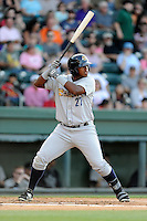 Photo of of the Charleston RiverDogs bats in a game against the Greenville Drive on Sunday, May 24, 2015, at Fluor Field at the West End in Greenville, South Carolina. (Tom Priddy/Four Seam Images)