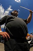 Wyatt Nelson Racing's crew chief Bill Hesson gets some sun..Bay City River Roar, Bay City,Michigan USA.26-2821 June, 2009..©F. Peirce Williams 2009 USA.F.Peirce Williams.photography.ref: RAW (.NEF) File Available