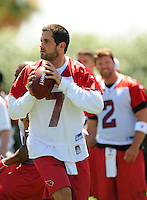 Jun 9, 2008; Tempe, AZ, USA; Arizona Cardinals quarterback (7) Matt Leinart drops back to pass during mini camp at the Cardinals practice facility. Mandatory Credit: Mark J. Rebilas-