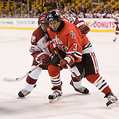 Doug Rogers (Harvard - 15), Ryan Ginand (NU - 3) - The Northeastern University Huskies defeated the Harvard University Crimson 3-1 in the Beanpot consolation game on Monday, February 12, 2007, at TD Banknorth Garden in Boston, Massachusetts.