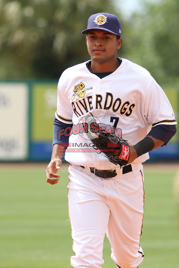 Zoilo Almonte #7 of the Charleston RiverDogs running in from the field between innings during a game against the Rome Braves on April 27, 2010  in Charleston, SC.