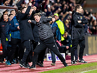 26th January 2020, Tynecastle Park, Edinburgh, Scotland; Scottish Premier League football, Hearts of Midlothian versus Rangers; Daniel Stendel manager of Hearts celebrates at full time after winning the game 2-1