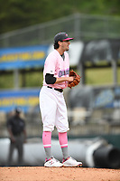 Hickory Crawdads starting pitcher Tim Brennan (15) looks in for the sign from his catcher during the game with the Charleston Riverdogs at L.P. Frans Stadium on May 12, 2019 in Hickory, North Carolina.  The Riverdogs defeated the Crawdads 13-5. (Tracy Proffitt/Four Seam Images)