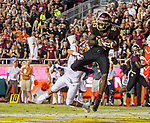 Florida State wide receiver Keith Gavin (89) catches a pass in the end zone but bobbled it and was ruled incomplete against Virginia Tech defensive back Caleb Farley (3) in the 2nd half of an NCAA college football game in Tallahassee, Fla., Monday, Sept. 3, 2018. Virginia Tech defeated Florida State 24-3.  (AP Photo/Mark Wallheiser)