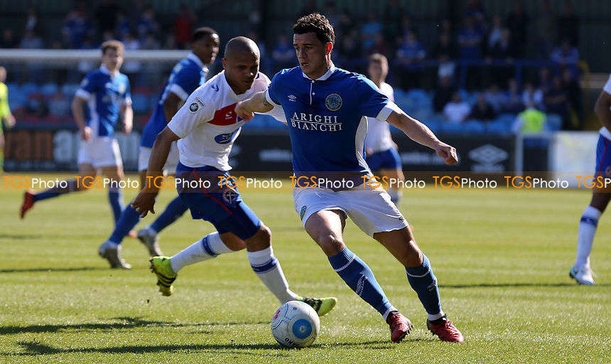 Oliver Norburn of Macclesfield Town and Elliot Romain of Dagenham and Redbridge during Macclesfield Town vs Dagenham & Redbridge, Vanarama National League Football at the Moss Rose Stadium on 8th April 2017