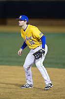 Delaware Blue Hens first baseman Doug Trimble (10) on defense against the Wake Forest Demon Deacons at Wake Forest Baseball Park on February 13, 2015 in Winston-Salem, North Carolina.  The Demon Deacons defeated the Blue Hens 3-2.  (Brian Westerholt/Four Seam Images)