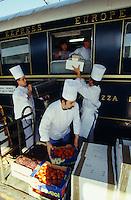 Venice Simplon-Orient-Express. Chefs loading food supplies at the Gare de l?Est.