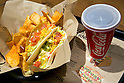 Taco Bell fast food on display during the pre-opening event for their first Japanese store located in Tokyo's Shibuya district, on April 20, 2015, Japan. The store includes Japan specific dishes like shrimp and avocado burrito and taco rice on its menu. It will open to the public on April 21st. The American Tex-Mex fast food restaurant has signed a franchise agreement with Asrapport Dining Co., Ltd. to operate Taco Bell branches in Japan. (Photo by Rodrigo Reyes Marin/AFLO)
