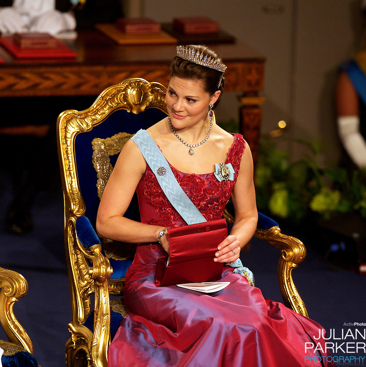 The Swedish Royal Family attend The Nobel Prize Award Ceremony at Stockholm Concert Hall, in Sweden..Crown Princess Victoria of Sweden attends.