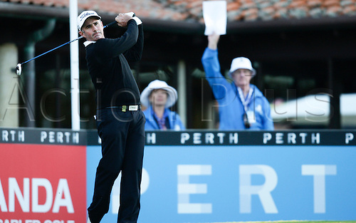 25.02.2016. Perth, Australia. ISPS HANDA Perth International Golf. Matthew Millar (AUS) hits his first shot for the tournament on tee 1 day 1.