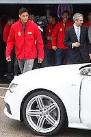 Real Madrid player Raphael Varane participates and receives new Audi during the presentation of Real Madrid's new cars made by Audi at the Jarama racetrack on November 8, 2012 in Madrid, Spain.(ALTERPHOTOS/Harry S. Stamper) .<br /> &copy;NortePhoto