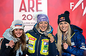 10 February 2019, Sweden, Are: Alpine skiing, World Championships, downhill, women, award ceremony: Corinne Suter (l-r) from Switzerland with the silver medal, Ilka Stuhec from Slovenia with the gold medal and Lindsey Vonn from the USA with the bronze medal.