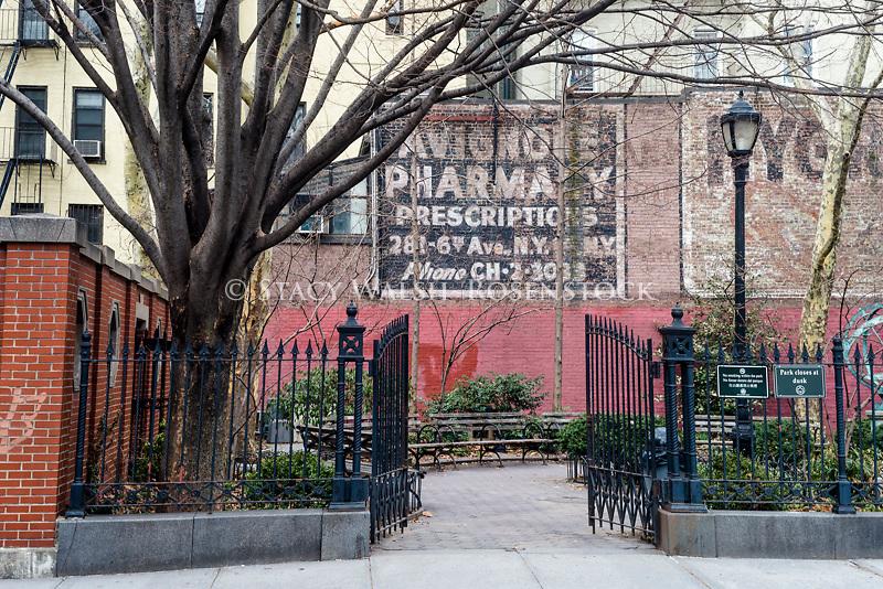 New York, NY - 28 March 2015 - Billboard for Avignone Pharmacy above Winston Churchill Square.
