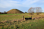 Silbury Hill neolithic site Wiltshire, England, UK is the largest manmade prehistoric structure in Europe