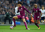 Erik Lamela of Tottenham Hotspur is challenged by Leroy Sane of Manchester City during the premier league match at the Wembley Stadium, London. Picture date 14th April 2018. Picture credit should read: Robin Parker/Sportimage