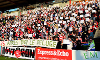 Lincoln City fans hold up cards to commemorate the 75th Anniversary of the Dambusters Raid<br /> <br /> Photographer Andrew Vaughan/CameraSport<br /> <br /> The EFL Sky Bet League Two Play Off Second Leg - Exeter City v Lincoln City - Thursday 17th May 2018 - St James Park - Exeter<br /> <br /> World Copyright &copy; 2018 CameraSport. All rights reserved. 43 Linden Ave. Countesthorpe. Leicester. England. LE8 5PG - Tel: +44 (0) 116 277 4147 - admin@camerasport.com - www.camerasport.com