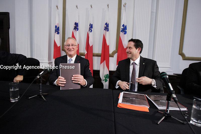 Montreal (Qc) CANADA - November 30 201 File Photo - Montreal city Budget - Gerald Tremblay, Mayor (L), Michael Applebaum (R) - Michael Applebaum is one of the possible replacement of Mayor Gerald Tremblay who resigned November 5, 2012.