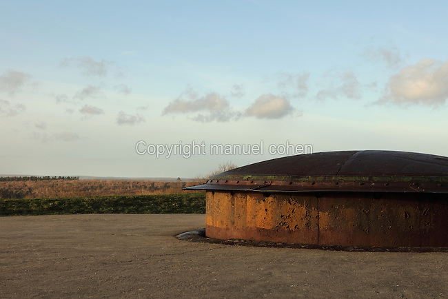 Turret 155, an adjustable gun turret with 360 degree sightings, built 1907-09, at the Fort de Douaumont, built 1885-1913, the largest of the 19 defensive forts around Verdun, Meuse, Lorraine, France. In 1916, during the Battle of Verdun in World War One, the German army occupied the fort, which was only recaptured after 9 months of intense fighting and the loss of tens of thousands of men, ending in the First Offensive Battle of Verdun on 24 October 1916. Picture by Manuel Cohen