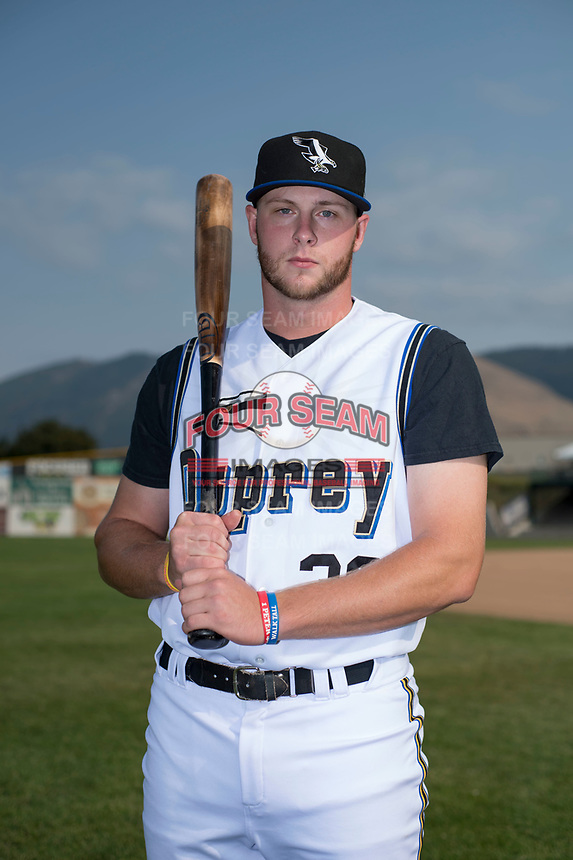 Missoula Osprey first baseman Zack Shannon (36) poses for a photo prior to a Pioneer League game against the Grand Junction Rockies at Ogren Park Allegiance Field on August 21, 2018 in Missoula, Montana. The Missoula Osprey defeated the Grand Junction Rockies by a score of 2-1. (Zachary Lucy/Four Seam Images)