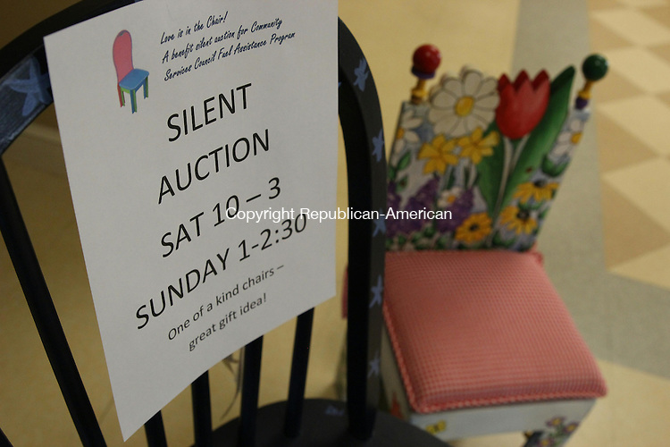 WOODBURY, CT: 03 Dec. 2015: 03122015CB03: WOODBURY -- Donated and decorated chairs will be up for sale during a silent auction this week at Woodbury's Senior Community Center. Proceeds go to a community fuel assistance fund. Bids may be placed on Saturday from 10 a.m. until 3 p.m. and on Sunday from 1:30 to 2 p.m. Caleb Bedillion Republican-American