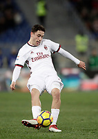 Calcio, Serie A: AS Roma - AC Milan, Roma, stadio Olimpico, 25 febbraio, 2018.<br /> Milan's Davie Calabria in action during the Italian Serie A football match between AS Roma and AC Milan at Rome's Olympic stadium, February 28, 2018.<br /> UPDATE IMAGES PRESS/Isabella Bonotto