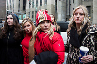 NEW YORK, NEW YORK - JANUARY 6:  Actress Rosanna Arquette joins other accusers and protesters when Harvey Weinstein arrives at the Manhattan courthouse. On January 6, 2020 in New York City. Weinstein pleaded not guilty to five counts of rape and faces a possible life sentence in prison. (Photo by Pablo Monsalve / VIEWpress)