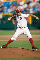 Oklahoma's Michael Rocha in Game 3 of the NCAA Division One Men's College World Series on Sunday June 20th, 2010 at Johnny Rosenblatt Stadium in Omaha, Nebraska.  (Photo by Andrew Woolley / Four Seam Images)