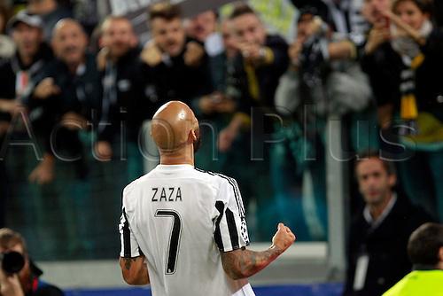 30.09.2015. Turin, Italy. Champions League. Juventus versus Sevilla. Simone Zaza celebrates after scoring the second goal for Juventus