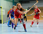 GER - Mannheim, Germany, December 19: During the 1. Bundesliga Sued Damen indoor hockey match between Mannheimer HC (blue) and Nuernberger HTC (red) on December 19, 2015 at Irma-Roechling-Halle in Mannheim, Germany. (Photo by Dirk Markgraf / www.265-images.com) *** Local caption *** Alexandra Zink #79 of Nuernberger HTC
