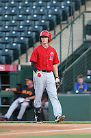Sam McDonnell (59) of the AZL Angels bats during a game against the AZL Giants at Tempe Diablo Stadium on July 6, 2015 in Tempe, Arizona. Angels defeated the Giants, 3-1. (Larry Goren/Four Seam Images)