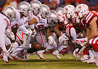 Ohio State Buckeyes defensive lineman Tracy Sprinkle (93) leads the rush during a extra point try against Nebraska Cornhuskers during the 3rd quarter at Memorial Stadium in Lincoln, Neb on October 14, 2017.  [Kyle Robertson/Dispatch]