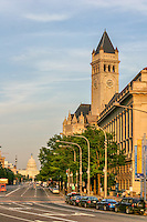 US Capitol Old Post Office Pennsylvania Washington DC Architecture United States Capitol Building Washington DC.Washington DC Photography <br /> The United States Capitol building is located on Capitol Hill at the East end of the National Mall in Washington D.C.. The US Capitol building is among the most symbolically important and architecturally impressive buildings in the United States. It has housed the meeting chambers of the House of Representatives and the Senate for two centuries. An example of 19th-century neoclassical architecture. Architectural details include, columns, porticos, arches, steps, the capitol dome, rotunda. A Washington DC landmark and national icon it is a popular tourist attraction and travel destination in Washington DC.