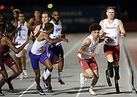 NWA Democrat-Gazette/ANDY SHUPE<br /> Arkansas' Jalen Brown (center) receives the baton Saturday, May 11, 2019, from Hunter Woodhall as they compete in the 4x400-meter relay during the SEC Outdoor Track and Field Championships at John McDonnell Field in Fayetteville. Visit nwadg.com/photos to see more photographs from the meet.