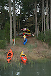 End of the trip, kayaks are returned to the trailer at Catham Vineyards along Church Creek