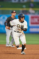 David Fletcher (15) of the Salt Lake Bees hustles towards third base against the Albuquerque Isotopes at Smith's Ballpark on April 5, 2018 in Salt Lake City, Utah. Salt Lake defeated Albuquerque 9-3. (Stephen Smith/Four Seam Images)