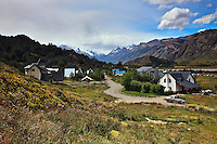 A view of El Chalten from one of trails leaving the town for Parque NacionalLos Glaciares in Argentina.