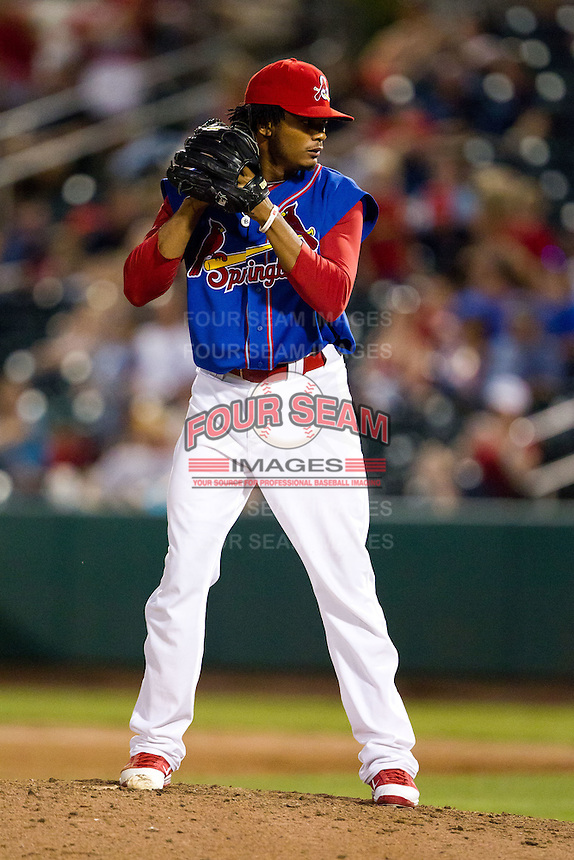 Francisco Samuel (19) of the Springfield Cardinals on the mound during a game against the Corpus Christi Hooks at Hammons Field on August 13, 2011 in Springfield, Missouri. Springfield defeated Corpus Christi 8-7. (David Welker / Four Seam Images)
