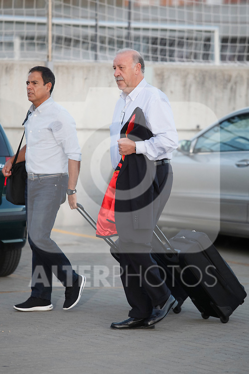 Spanish soccer team coach Vicente del Bosque arrives at Soccer City training facility for a team concentration meeting in Las Rozas, near Madrid, Spain. September  01, 2015. (ALTERPHOTOS/Victor Blanco)