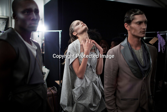 JOHANNESBURG, SOUTH AFRICA - MARCH 31: Models wait backstage before a show with the designer Suzaan Heyns at Joburg Fashion Week on March 31, 2012, in Johannesburg, South Africa. (Photo by Per-Anders Pettersson)