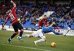 27.10.18 St Johnstone v St Mirren: Lee Hodson fouls Drey Wright in the box for a penalty