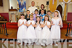 Miss Lynch's class from Castlegregory National School made their First Holy Communion on Saturday May 21st in St. Mary's Church, Castlegregory. From front l-r: Abby O'Sullivan, Emma Fitzgerald, Laura Goodwin, Erin O'Halloran, Ciara Doogan Jones. Back l-r were: Tadhg O'Connor, Tom Moriarty, Steven Griffin and Ronan Hussey, Fr Hussey and Miss Lynch.