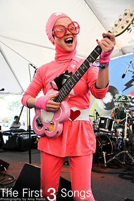 Peelander Pink of Peelander-Z performs during Day 2 of the Voodoo Experience at City Park in New Orleans, Louisiana on October 29, 2011.