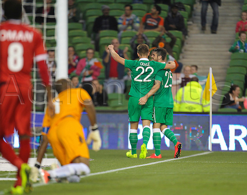 03.09.2014. Dublin, Ireland.  International friendly fixture Republic of Ireland versus Oman. Kevin Doyle (Ireland) celebrates scoring his sides first goal.<br /> Ireland won the match by the score of 2-0