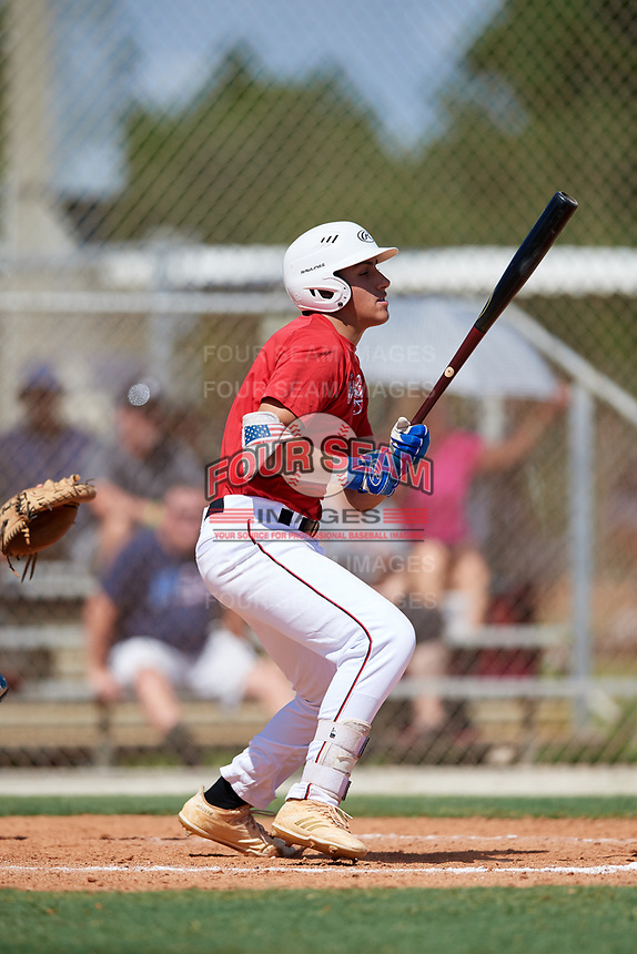 Luke Napolitano during the WWBA World Championship at the Roger Dean Complex on October 18, 2018 in Jupiter, Florida.  Luke Napolitano is a third baseman from Rockville Centre, New York who attends Kellenberg Memorial High School and is committed to Kansas.  (Mike Janes/Four Seam Images)