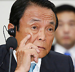 Taro Aso, Aug 27, 2016 : Japanese Finance Minister Taro Aso participates in a talks with his South Korean counterpart Yoo Il-ho (not seen in photo) at an office of the South Korean Government Complex Seoul in Seoul, South Korea. The bilateral meeting was the seventh talks between Japan and South Korea since 2006. The finance ministers from Japan and South Korea agreed on Saturday to resume a currency swap deal to strengthen bilateral economic cooperation, local media reported. (Photo by Lee Jae-Won/AFLO) (SOUTH KOREA)