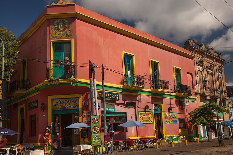 The colorful buildings of La Boca dazzle visitors in Buenos Aires.